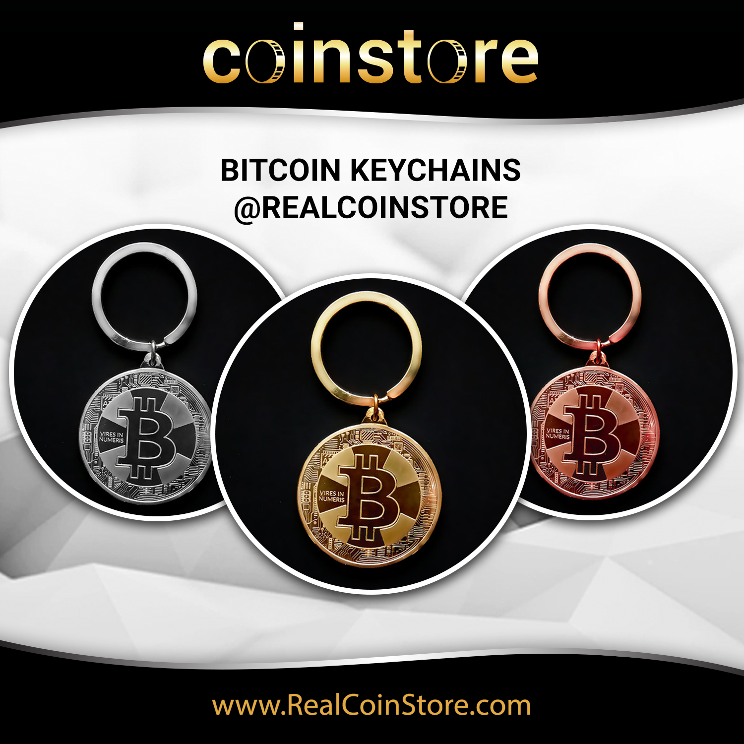 Bitcoin keychain, gold, bronze, silver. Cryptocurrency gifts.