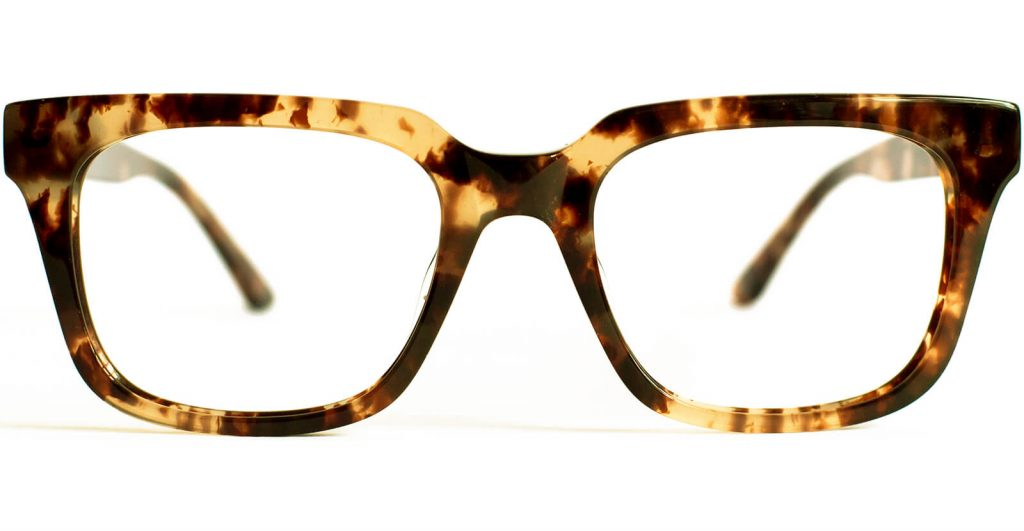 Frontal view of Loerlai frame in tortoise